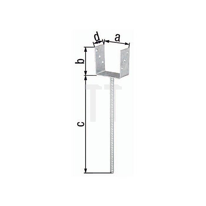 U-Pfostenträger ETA-10/0210 101x100x400x60mm Stahl roh feuerZN