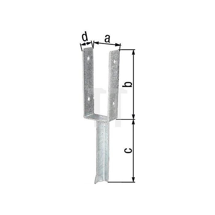 U-Pfostenträger ETA-10/0210 101x200x200x50mm Stahl roh feuerZN