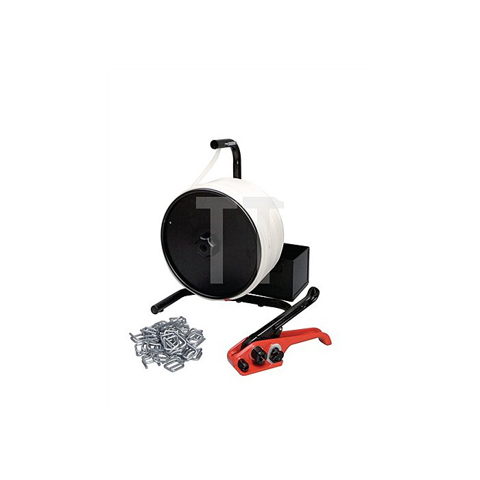 Umreifungsset f.19mm Kunststoffband m.Bandspanner/Verschlussschnallen/PES-Band