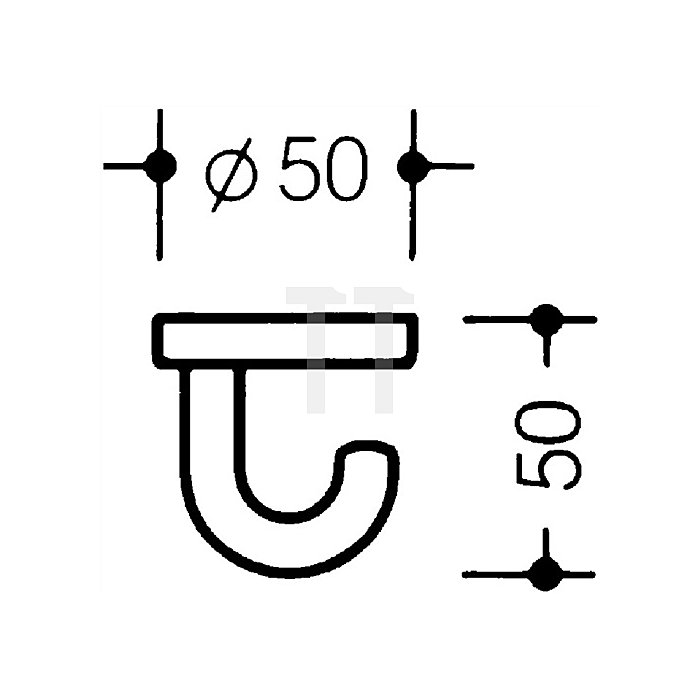 Unterkopfhaken 477.90.015 97 PA D.50mm lichtgrau