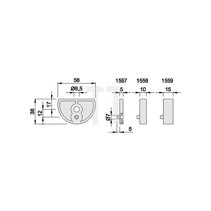 Unterlage KWS 1557.31 z.Türpuffer 3000258199 H.5mm Alu.silberfarbig elox.