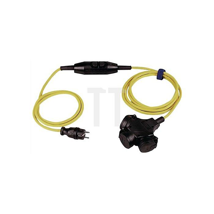 Verlängerungskabel IP44 L.4,5m gelb H07RN-F 3x1,5mm2 Vollgummikuppl.