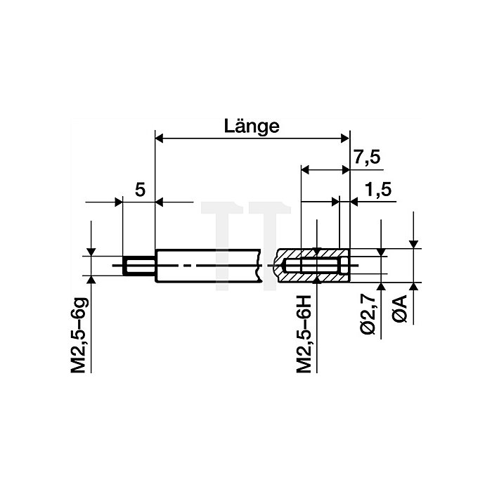 Verlängerungsstück L.20mm Messbolzen-D.4mm f.Messuhren