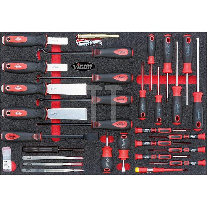 VIGOR 1/1 Weichschaumeinlage Schraubendr., Schaber-Satz V2007 - Anzahl Werkzeuge: 40