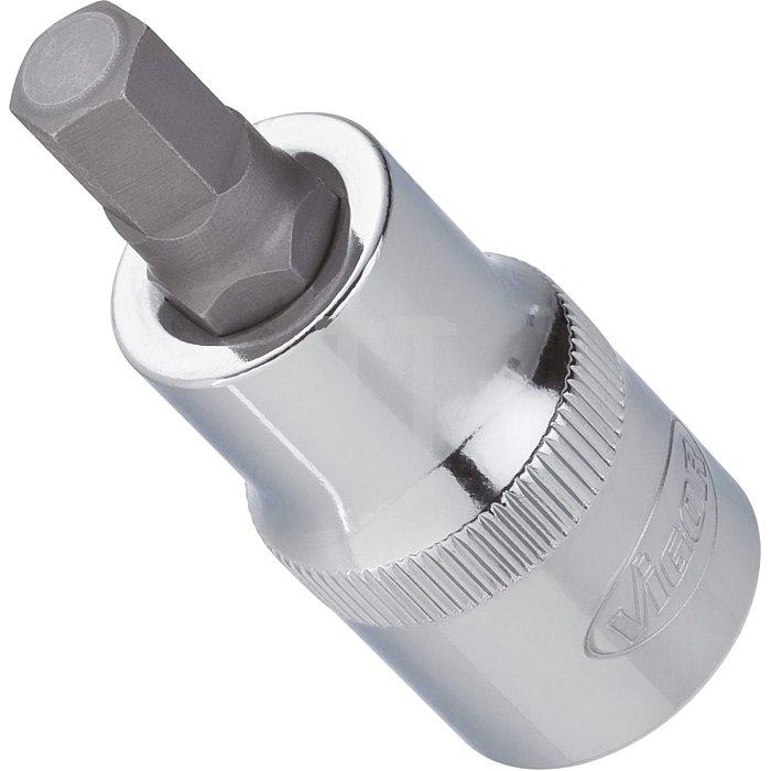VIGOR Innenvierkant Antrieb 12,5 = 1/2 Zoll Innensechskant Schraubendreher-Einsatz für Innensechskant-Profil V2104 - Vierkant hohl 12,5 mm (1/2 Zoll) - Innen-Sechskant Profil - 8 - Gesamtlänge: 55 mm