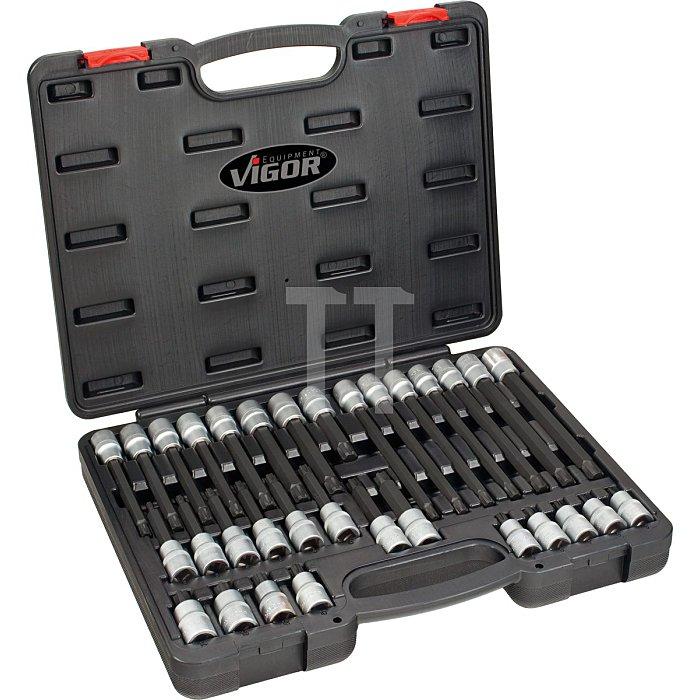 VIGOR Innenvierkant Antrieb 12,5 = 1/2 Zoll RIBE Schraubendreher-Einsatz-Sortiment V2201 - Vierkant hohl 12,5 mm (1/2 Zoll) - Innen Keilprofil Ribe-CV - - - Anzahl Werkzeuge: 32
