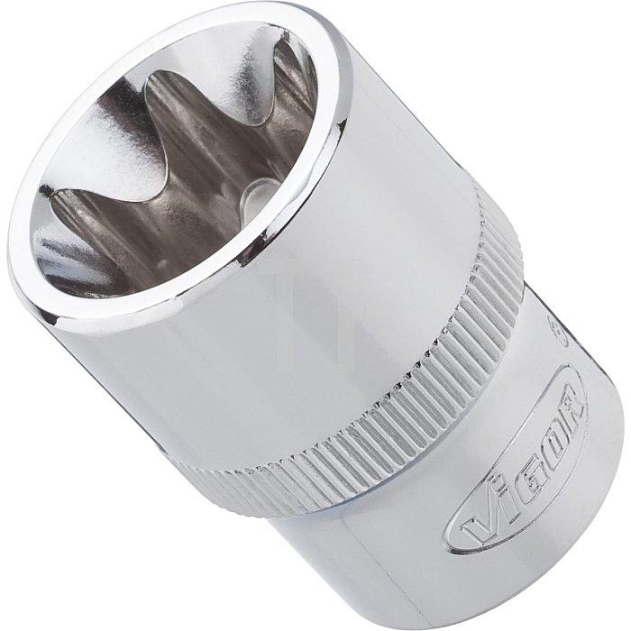 VIGOR Innenvierkant Antrieb 12,5 = 1/2 Zoll TORX® Steckschlüssel-Einsatz für Außen TORX® Profil V2735 - Vierkant hohl 12,5 mm (1/2 Zoll) - Außen TORX® Profil - E 22 - Gesamtlänge: 38 mm