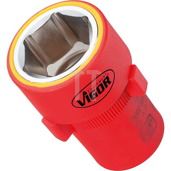 VIGOR Innenvierkant Antrieb 12,5 = 1/2 Zoll VDE-Steckschlüssel-Einsatz für Außensechskant-Profil V3333 - Vierkant hohl 12,5 mm (1/2 Zoll) - Außen-Sechskant Profil - 13 - Gesamtlänge: 55 mm
