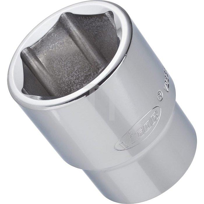 VIGOR Innenvierkant Antrieb 20 = 3/4 Zoll Steckschlüssel-Einsatz für Innensechskant-Profil V2256 - Vierkant hohl 20 mm (3/4 Zoll) - Außen-Sechskant Profil - 28 - Gesamtlänge: 52 mm