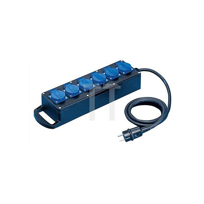 Vollgummiverteiler IP44 H07RN-F3x2,5mm2 L.2m Eingang/Ausgang 6x230V
