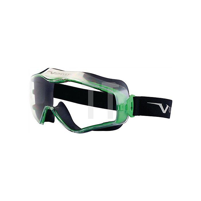 Vollsichtbrille 6x3 Fassung gun metallic/grün EN166 Panoramagläser klar indirekt
