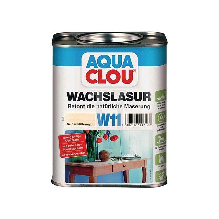 W11 AQUA CLOU Wachslasur 750ml Nr. 5 weiss