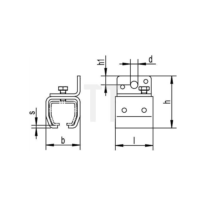 Wandbefestigungsmuffe 501 f. Profil 500 galvanisch verzinkt f.1 Laufschiene