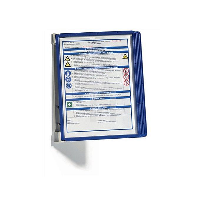 Wandhalter Komplett-Set mit 5 Sichttafeln m.Profilrahmen dunkelblau