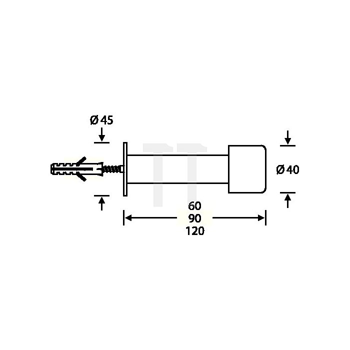 Wandpuffer 3880 D.40mm L.60mm Alu.F1 naturfarben