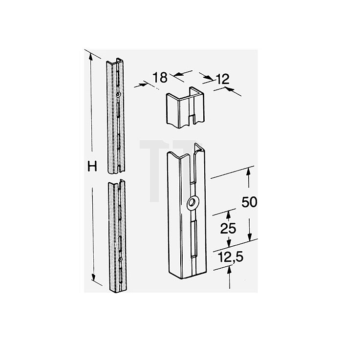 Wandschiene 10000 Länge 1000mm Alu-silber einreihige Lochung Paar Element-System