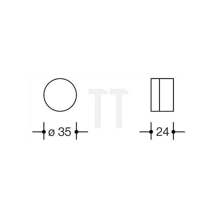 Wandtürpuffer 610 90 D.35mm L.24mm tiefschwarz