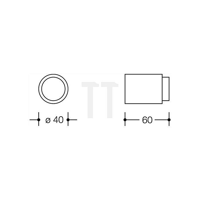 Wandtürpuffer 611.60 33 D.40mm L.60mm rubinrot