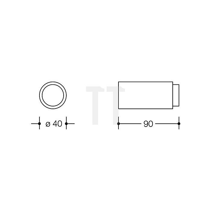 Wandtürpuffer 611.90 33 D.40mm L.90mm rubinrot