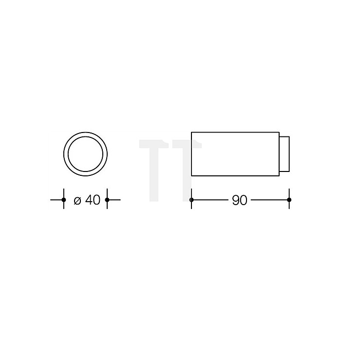 Wandtürpuffer 611.90 97 D.40mm L.90mm lichtgrau