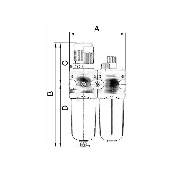 Wartungseinheit zweiteilig mit Polycarbonatbehälter Gewinde G 3/8