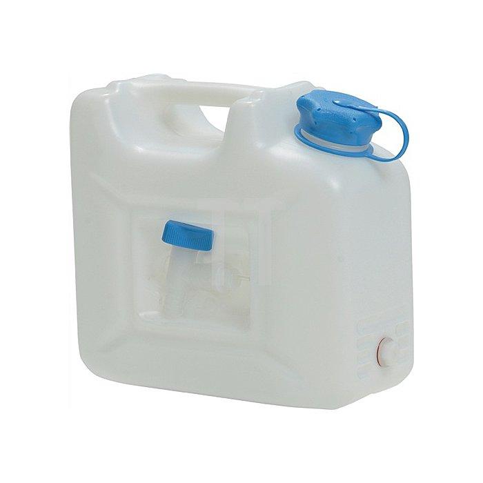 Wasserkanister 10l HD-PE natur mit integriertem Auslaufhahn H310xB350xT165mm