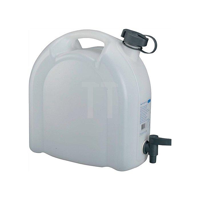 Wasserkanister 10L weiss stapelbar PE m. Ablasshahn