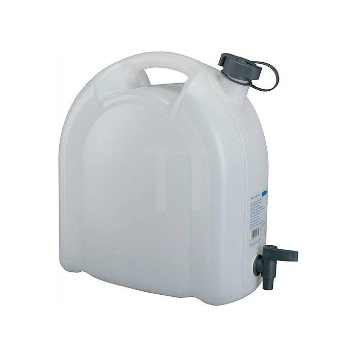 Wasserkanister 15L weiss stapelbar PE m. Ablasshahn