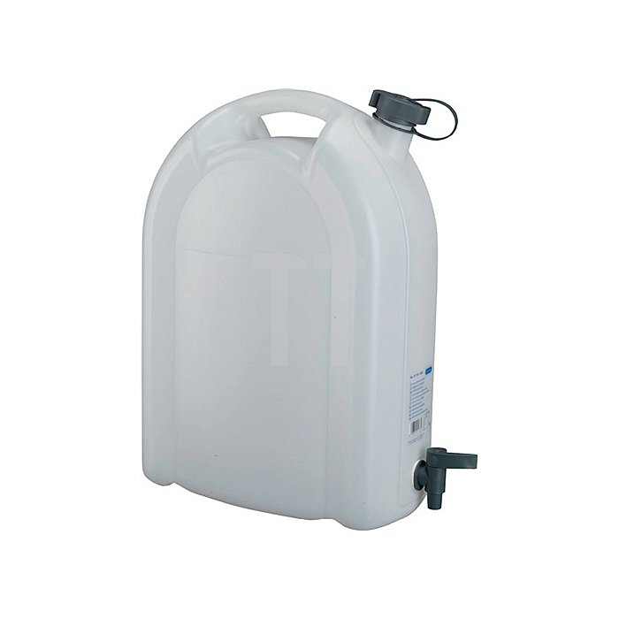 Wasserkanister 20L weiss stapelbar PE mit Ablasshahn