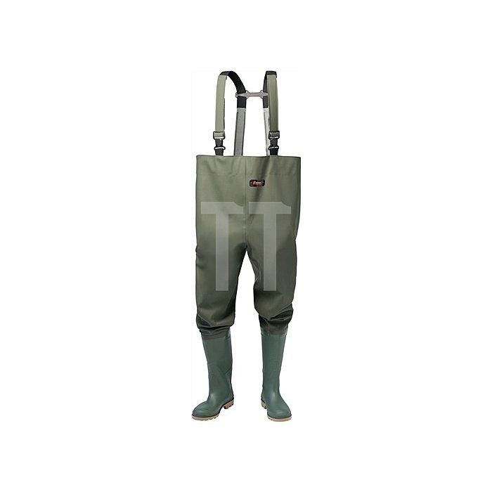Wathose m.Stiefel Gr.45 oliv PVC-beschichtetes Gewebe