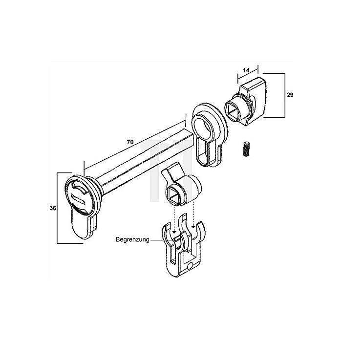 WC/Bad- Modul für Profilzylinder vorgerichtete Türen Aluminium Druckguß