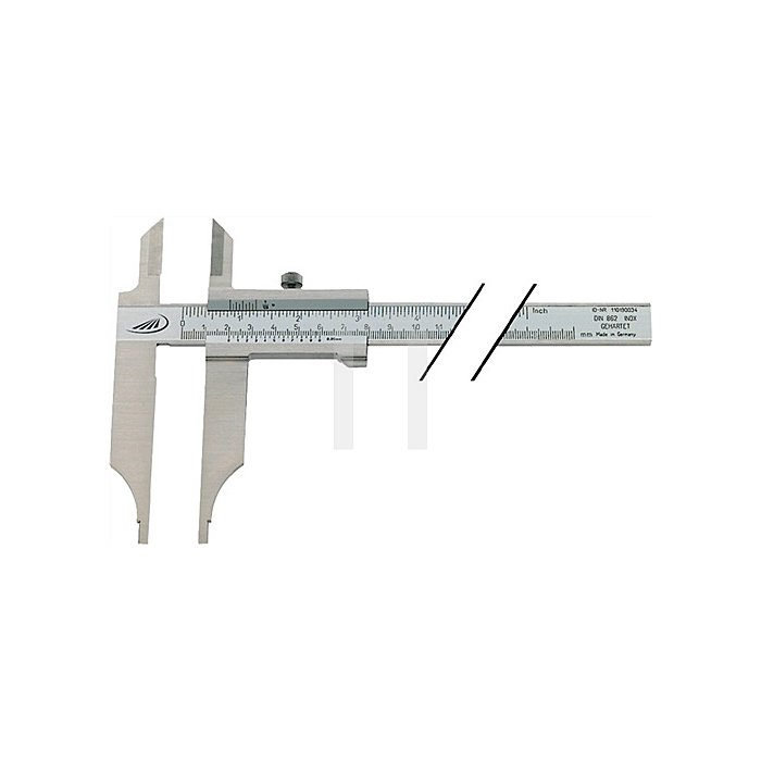 Werkstattmessschieber DIN862 300mm o.FE m.Spitzen Schnabel-L.90mm