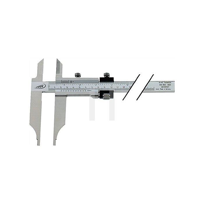 Werkstattmessschieber DIN862 500mm m.FE m.Spitzen Schnabel-L.150mm