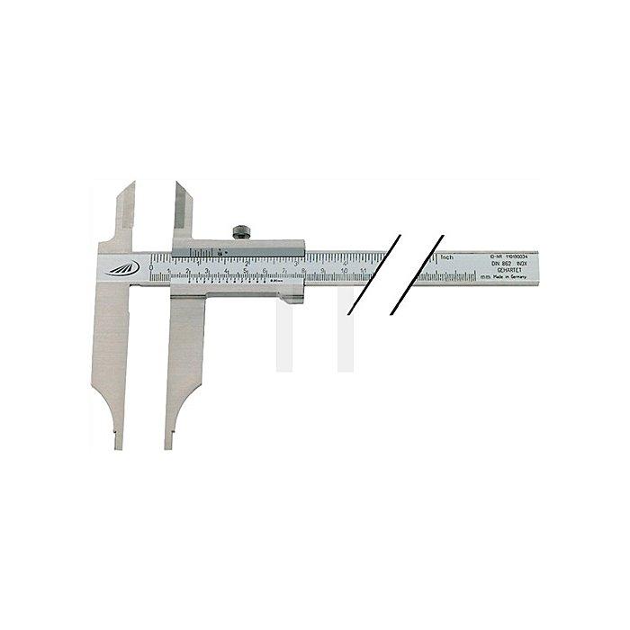 Werkstattmessschieber DIN862 500mm o.FE m.Spitzen Schnabel-L.150mm