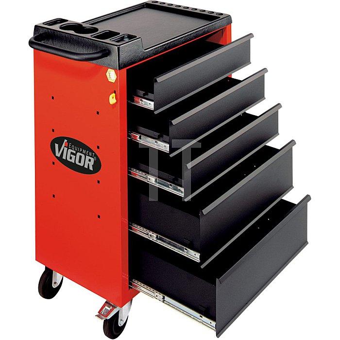 Werkstattwagen VIGOR 500 mit 5 Schubladen, rot 6er Abnahme