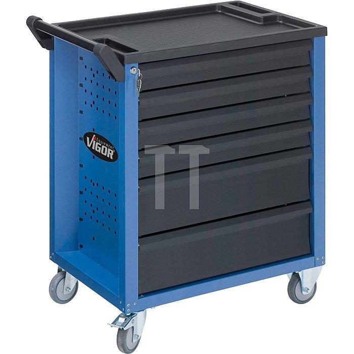 Werkstattwagen VIGOR 600 mit 6 Schubladen, blau