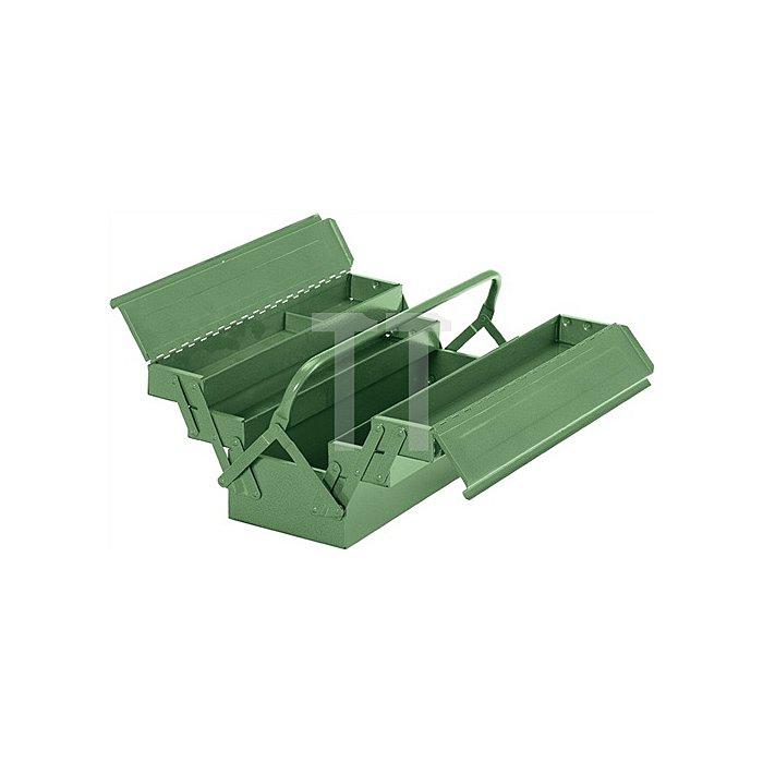 Werkzeugkasten Stahlblech 430x200x200mm 5 teilig flacher Deckel grün RAL 6011