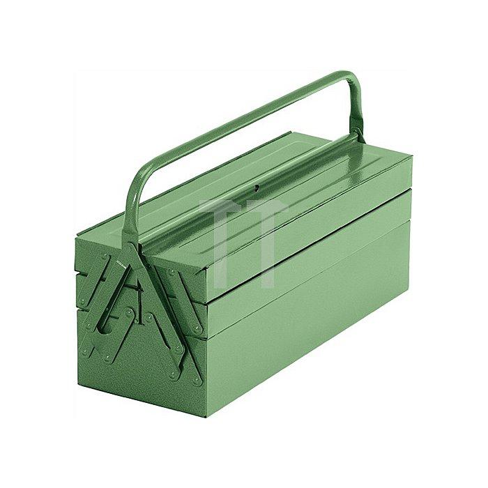 Werkzeugkasten Stahlblech 600x200x200mm 5 teilig gewölbter Deckel grün RAL 6011