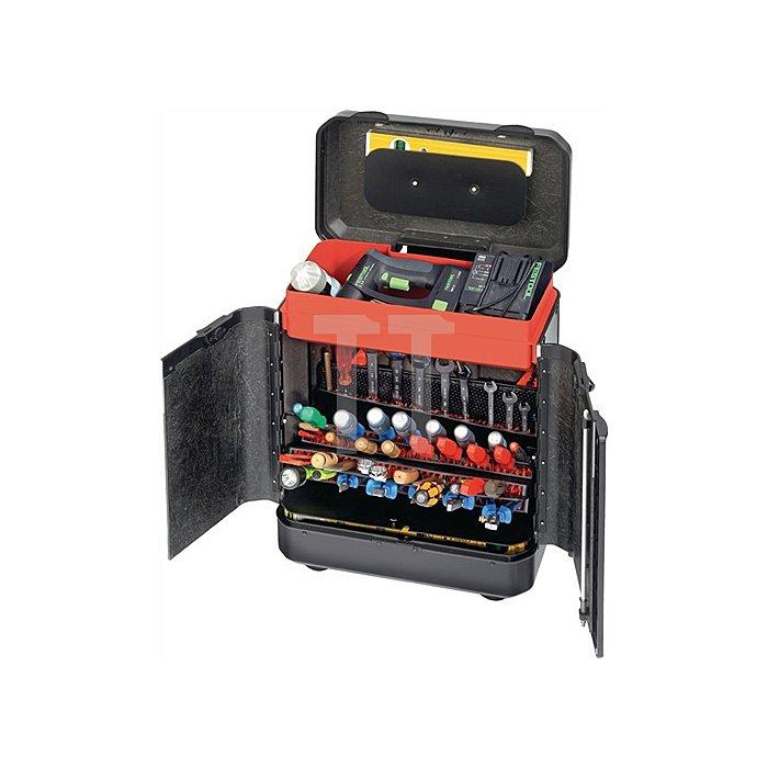 Werkzeugkoffer 450x260x550mm rollbar m. genähten Werkzeugt. Türenversion