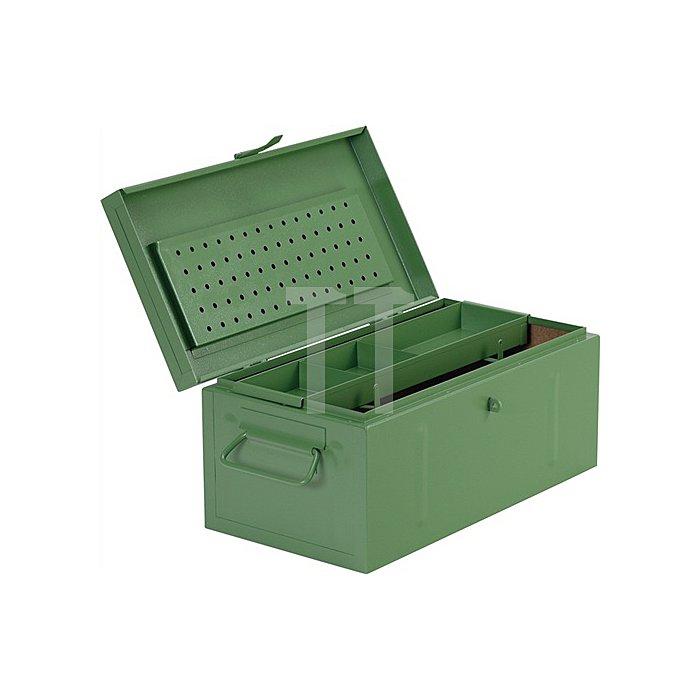 Werkzeugkoffer Stahlblech 690x360x310mm m.Kleinteileeinsatz grün RAL 6011