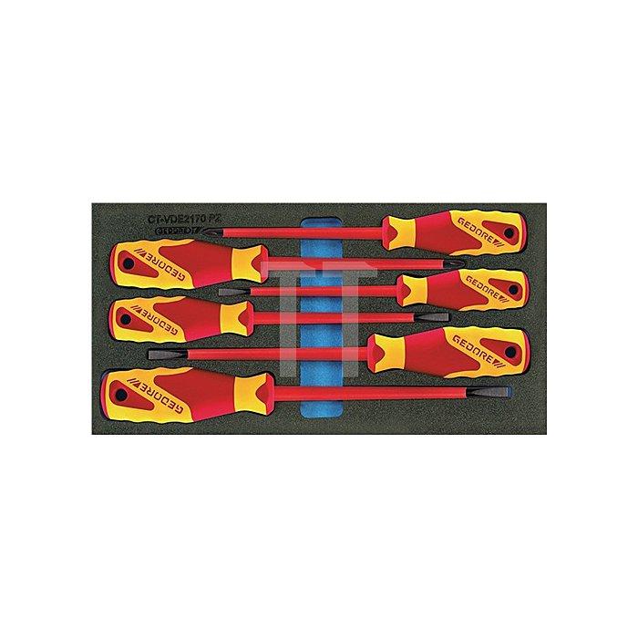 Werkzeugmodul VDE-Schraubendreher 6tlg. Schlitz/PZD f.Werkzeugwagen