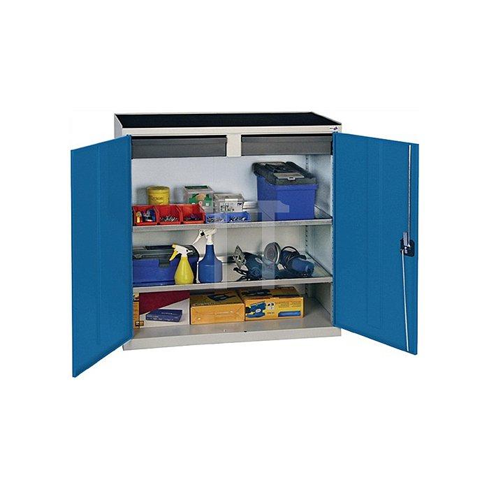 Werkzeugschrank 1000x1000x500mm 2 Schubladen/2 Böden lichtgrau/signalblau