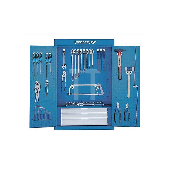 Werkzeugschrank 1401 u.1500HS11 Hakensortiment blau/Schubladen silber