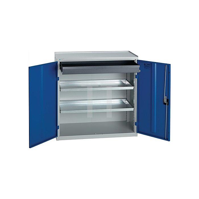 Werkzeugschrank H1000xB1000xT500mm 1Großraumschublade2Böden lichtgrau/enzianblau