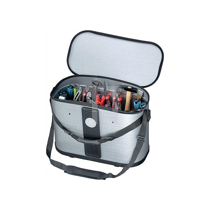 Werkzeugtasche B.460xT.230xH.310mm m. herausnehmb. Mittelw.bewegl. Silber