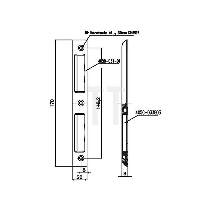 Winkel-Schließblech f.ZT 20x8x170mm abgerundet ungleichschenklig VA
