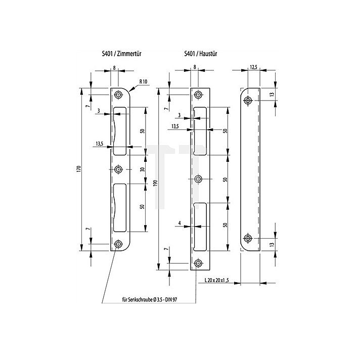 Winkel-Schließblech L.190mm S.1,5mm re./li.verw.Stahl NiSi HT ktg.20mm