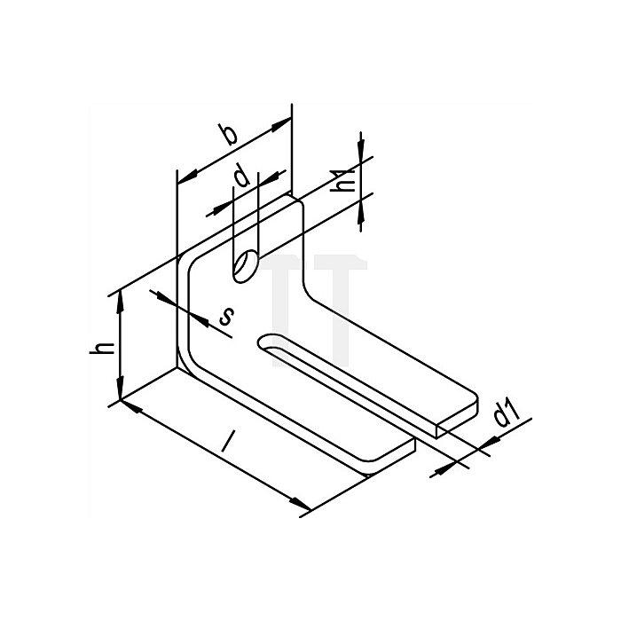 Winkelbefestigung 104 WD Typ 2 verwendbar mit 2 Muffen für Schiene 100