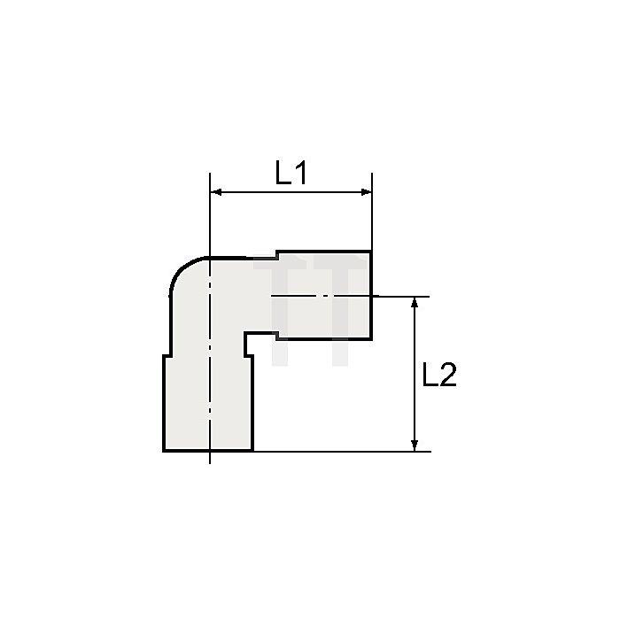 Winkeleinschraubverschraubung G1/4a. / Schlauch-ø 6 Blaue Serie