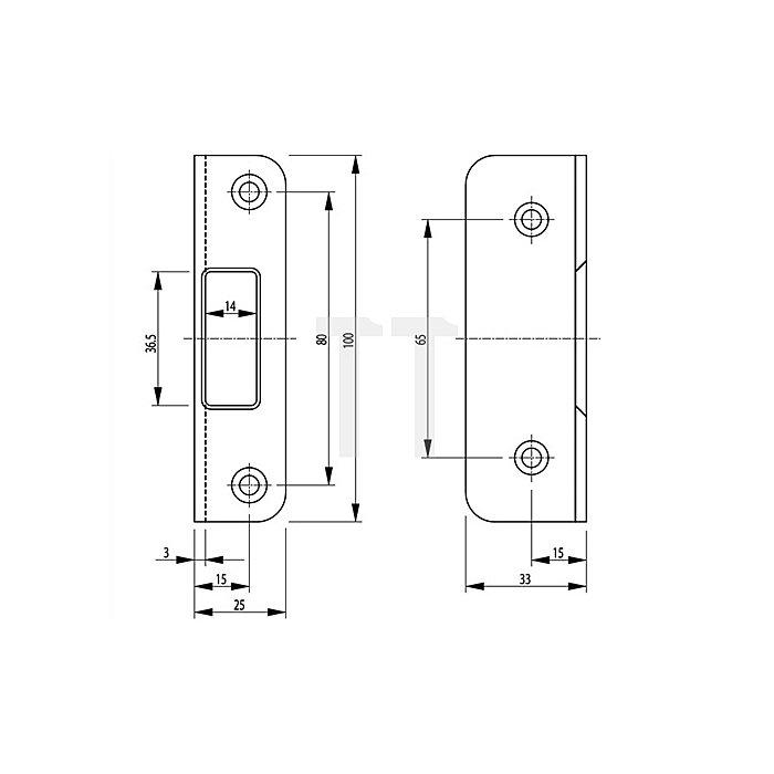 Winkelschließblech Secury L.100mm B.25mm T.33mm Stahl verzinkt